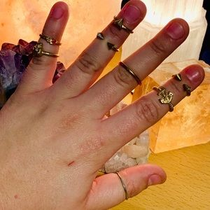 Jewelry - Set of Mixed Gold Above Knuckle Rings